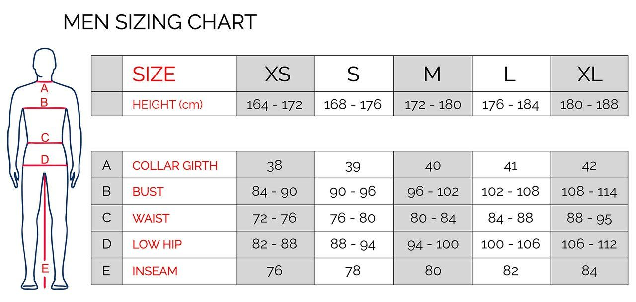 Tonfly B1 Skydiving Jumpsuit Sizing Chart Men